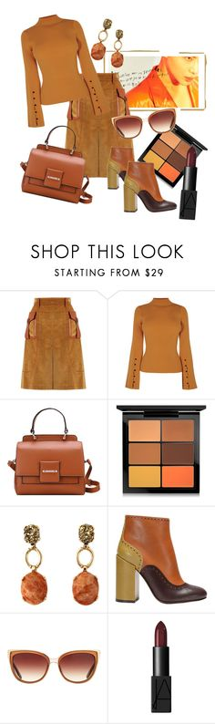 """""""Fall"""" by stylemaven2 ❤ liked on Polyvore featuring Prada, MAC Cosmetics, L'Autre Chose, Barton Perreira, Fall, orange, suede, sunglasses and Tan"""