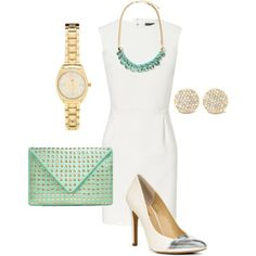 How to accessorize a form fitting white dress: yellow cap toe heels, and splashes of mint!