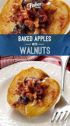 These sweet baked apples with walnuts are the perfect dessert when you want to skip the crust or cake and go straight for the filling. Fruit Recipes, Apple Recipes, Holiday Recipes, Dessert Recipes, Cooking Recipes, Recipies, Healthy Desserts, Just Desserts, Healthy Foods