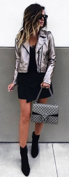 A silver biker jacket because if you re going to wear all black all year round you ll need to shake things up a little