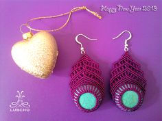 Macrame Earrings Purple Peafowls