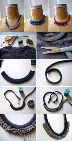 using the seams from tshirt crafts into necklaces! how sustainable is that?