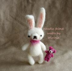 Needle felted bunny rabbit and her bear by FunFeltByWinnie on Etsy