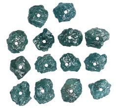 2.36 Ct Natural Loose Diamond Rough Drilling Bead Blue Color 14 Pcs L8636
