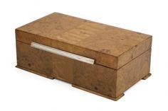 Brass lined burl wood box. England, circa 1920
