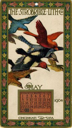 "cincylibrary: ""Calendar card, May Printed by the Strobridge Lithographing Company of Cincinnati. Art Vintage, Vintage Ephemera, Vintage Images, Cincinnati, Document Iconographique, Vintage Calendar, Art Deco Illustration, Paper Birds, Calendar Design"