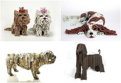 Unchained, by the artist Nirit Levav, is a collection of real-size dogs sculptures, made out of recycled bicycle parts, mostly chains.