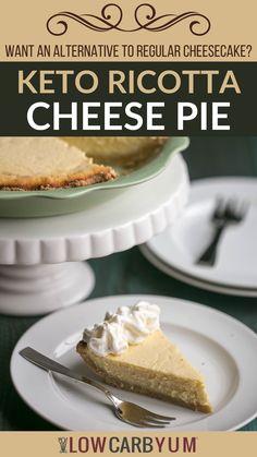 Low Carb Pie Recipe, Healthy Low Carb Recipes, Low Carb Dinner Recipes, Low Carb Keto, Ketogenic Desserts, Diabetic Desserts, Keto Snacks, Healthy Desserts, Healthy Cheesecake Recipes