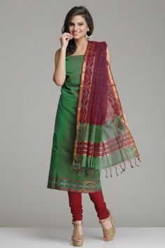 Mehendi Green And Wine Red Mangalagiri Cotton Unstitched Suit With Gold Zari & Subtle Ikat Border