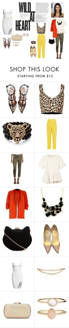 """wild at heart"" by kaja-232 ❤ liked on Polyvore featuring Valentino, River Island, Palm Beach Jewelry, Issa, Edun, Alexander Wang, Emi Jewellery, New Look, Christian Louboutin and Maison Mayle"