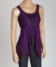 Purple Embroidered Handkerchief Tank | zulily