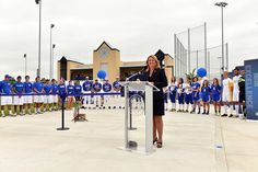 Athletics Director Liz Dalton speaking at the grand opening of The Park at St. Mary's.