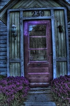rustic purple - My Mom painted our front door (and Mailbox) deep purple growing up . always ahead of her time! Love the purple lavender by the doors - Cool Doors, The Doors, Unique Doors, Windows And Doors, Front Doors, Front Porch, Door Knockers, Door Knobs, Shades Of Purple