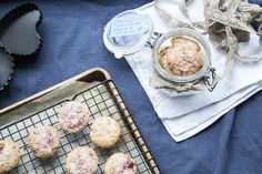 Clotted cream biscuits with fresh raspberries and coconut - recipe from Ink Sugar Spice website Coconut Recipes, New Recipes, Clotted Cream Recipes, Cream Biscuits, Cake Cover, French Food, Sugar And Spice, No Bake Desserts, Creme