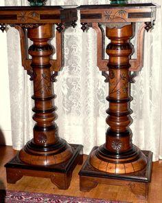 "Pr  c1880 Aesthetic Victorian pedestal s, solid walnut, ebonized/gilt trim, 40""t #Victorian #unknown"