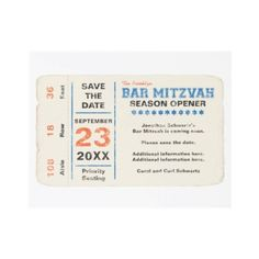Sports Star Bar Mitzvah Save the Date Card