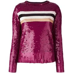 Aviù striped sequin jumper (17.310 RUB) ❤ liked on Polyvore featuring tops, sweaters, red, striped sweater, red stripe sweater, red striped sweater, purple sweater and red jumper