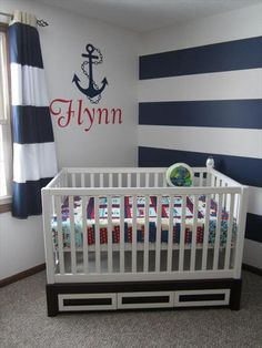 Nautical theme nursery for Grandma and Grandpa's future sailor. Anyone who knows me knows this is definitely in the running!
