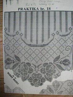 Filet crochet a blue color scheme - Blue Things Crochet Curtain Pattern, Crochet Curtains, Crochet Doilies, Crochet Lace, Filet Crochet Charts, Crochet Diagram, Crochet Stitches, Lace Patterns, Crochet Patterns
