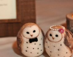 Barn Owls Wedding Cake Topper  Made to Order by Woolnimals on Etsy, $65.00