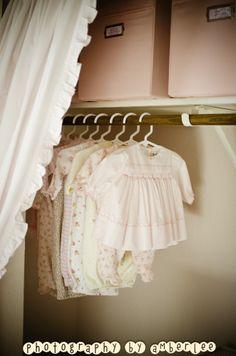 Ruffled curtain instead of closet door - love the look!