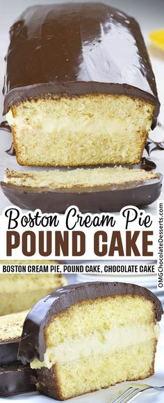 Boston Cream Pie Pound Cake Why make a Boston cream pie from scratch when this cake version is so simple? Boston Cream Pie Pound Cake is smooth and creamy filling with vanilla flavor sandwiched between two cake layer. Köstliche Desserts, Chocolate Desserts, Delicious Desserts, Dessert Recipes, Chocolate Ganache, Easter Desserts, Dessert Food, Food Cakes, Cupcake Cakes