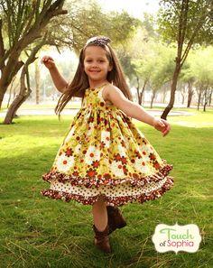 Double Ruffle Dress - Indian Summer -  - Custom Size up to 8-Double Ruffle Dress, riley blake, zoe pearn