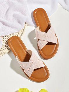 Cross Strap Slide Sandals | SHEIN UK Slide Sandals, Shopping, Shoes, Fashion, Fashion Sandals, Sandals, Moda, Zapatos, Shoes Outlet