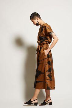 7a1e1a3b283 Black Crane Origami Culotte in Print Teak and Black Paint Fabric