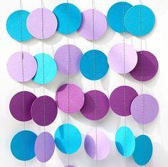 Mermaid party decoration - Purple lilac blue turquoise - Birthday decoration - Paper garland - Nursery - Kids room decor - Circles garland by TransparentEsDecor