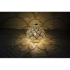 Lampe, luminaire oriental ajouré laiton argenté - Oranjade