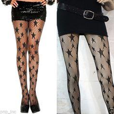 Fishnet-Pattern-Sheer-Pantyhose-Big-Star-Detail-Slim-Stockings-Tights-Black-OS
