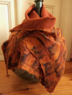 Felted scarf Saffron tiger. Amber and black. by SalkimiCreations