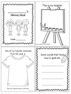 End of year memory book. This Memory Book contains 20 pages to encourage your students to reflect upon the school year and their achievements throughout it, in a fun and easy way! Many of the pages would also be good self-reflection pieces to be included in a student portfolio.