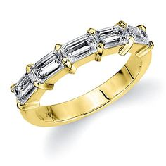 Yellow Gold Diamond Emerald Minimize Ring (two. cttw, D-E-F Coloration, VVS-VS Clarity) - Fashion Trends Emerald Wedding Rings, Emerald Cut Engagement, Emerald Cut Rings, Emerald Cut Diamonds, Engagement Ring Cuts, White Gold Diamonds, Eternity Ring Diamond, Diamond Bands, Diamond Cuts