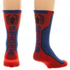 Spider-Man Text Spider Active Performance Crew Socks New Licensed Marvel Comics #Bioworld #Spiderman