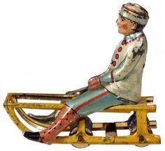 c.1922 Meier, Boy on Sled (Upright) Penny Toy