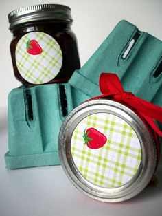 Plaid Strawberry Canning jar labels round red mason jar stickers, Cottage chic, CanningCrafts, Etsy $4