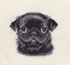 BLACK-PUG-dog-puppy-Full-counted-cross-stitch-kit-all-materials-included