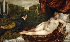 Titian, Tiziano Vecelli, or Tiziano Vecellio (Italian c. 1488/1490–1576) [Venetian School] Venus recreándose en la música (Venus Reveling in Music), 1555. Museo del Prado, Madrid, Spain.