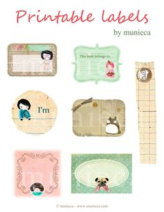 Printable Labels by Munieca, Bookplates, bookmarks, what-eva! Printable Labels, Printable Paper, Free Printables, Book Labels, Label Templates, Free Prints, Smash Book, Envelopes, Gift Tags