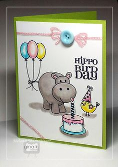 Card made with Beth Silaika's Hippo Bird Day stamp set and Melanie Muenchinger's Twine Time stamp set for Gina K. Designs. Card by Melanie Muenchinger http://www.shop.ginakdesigns.com/category.sc?categoryId=16