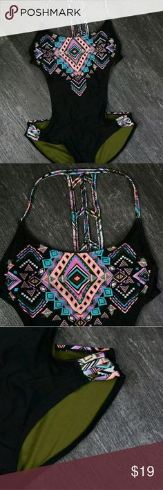 Swim Time! H14 Womens Swimsuit Swim Bathing Suit 1 Piece Joined 2 Piece Aztec Native Print Medium Size 7 - 9 Light built in padding in bust area Black, Pink, Purple, Blue Awesome Back Details   30 - 32 inch bust 30 - 32 inch waist op Swim