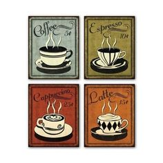 """Retro Coffee Set by N. Harbick 8""""x10"""" Art Print Poster ($8.13) ❤ liked on Polyvore featuring home, home decor, wall art, art, fillers, pictures, coffee, café, retro posters and cafe wall art"""