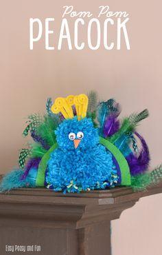 How to Make a Pom Pom Peacock Craft