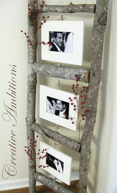 "Log photo ladder. Kristen, this could be a fun way to reuse the wood that you guys use for the ""arch"" and display your wedding photos.. :)"