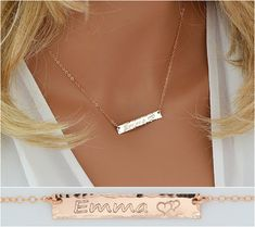 Rose Gold Necklace, Bar Necklace, Rose Gold Engraved Necklace, Custom Necklace, Name Necklace Bar, Personalized Gift for Her  5x35
