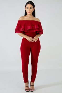 Bring You Home Jumpsuit Off Shoulder Blouse, Off The Shoulder, Stretch Fabric, Jumpsuit Style, Burgundy, Bring It On, Rompers, Fashion Ideas, Brides