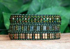 Beaded Wrap Bracelet Green Olivine Bronze Tila and Crystal
