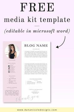 Grab your free media kit template. Editable in Microsoft Word. #mediakit #presskit #blogger #influencer #instagram #blogging Kit Design, Media Kit Template, Instagram Words, Blogger Templates, Templates Free, Blog Names, Press Kit, Blog Planner, Blogger Tips